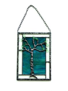 Tree panel stained glass summer tree suncatcher by DesignsStainedGlass #homedecor #treeart #unique