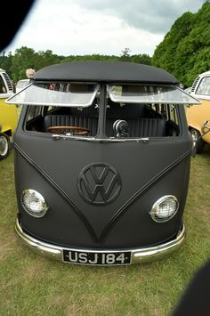 Matte Black VW van. This better be my next car. I'll run that baby on vegetable oil