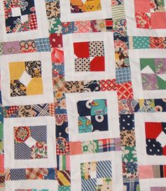 These little squares were saved from a vintage badly made quilt.