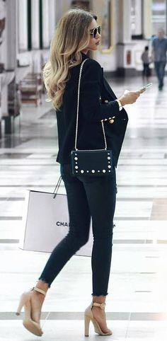 stylish look | bag + blazer + skinny jeans + heels