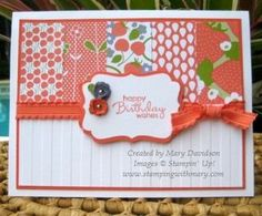 Berry Blossom dsp with Petite Pairs, Stripes embossing folder, Decorative Label & Itty Bitty Shapes punches. Thanks Mary!