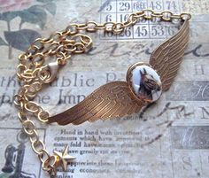 Here's a Horse choker for the May '16 Challenge. B'Sues gorgeous double wings in brass, buffed with Ren Wax, MockiDesigns.etsy.com