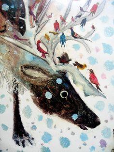 Vintage 1971 Brian Wildsmith Poster December Reindeer by luola