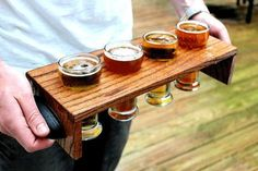 Items similar to Solid Oak, dovetailed, beer flight carrier and tasting stand (Includes Glasses) on Etsy - This is a solid oak beer tasting stand and carrier. Diy Wood Projects, Wood Crafts, Beer Caddy, Beer Tasting, Tap Room, Glass Holders, Wine And Beer, Cafe Design, Bottle Crafts