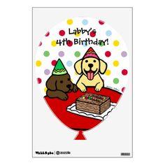 Yellow Labrador Puppy and Chocolate Labrador Puppy Birthday Wall Decal!  For kid's birthday party decoration! #labradorretriever #labrador #dog #birthday