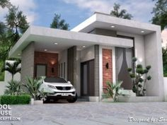 Sketchup House Modeling Idea From Photo – House Design Ideas Best Small House Designs, Small Modern House Plans, Unique House Design, Minimalist House Design, Minimalist Home, Single Storey House Plans, One Storey House, Single Floor House Design, House Front Design