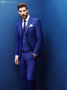 Choosing wholesale wholesale-2015 high quality fashion wedding is suitable for thin body of the royal blue suit the groom dress coat +…