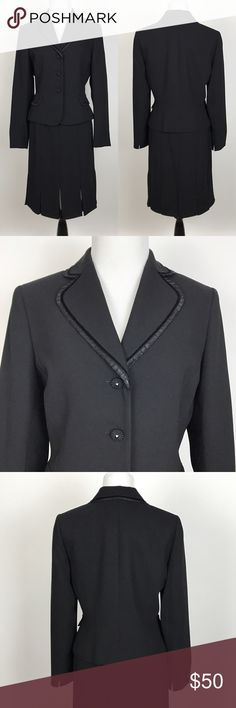 """[Tahari] Black Skirt Suit 6 Classic Blazer Career Classic chic Tahari Arthur S Levine skirt suit. 3 button blazer with Ruffled trim and faceted buttons. Skirt has silk insets. Zip closure. Lined. A great Career wear to work Piece.   JACKET 🔹Pit to Pit: 19"""" 🔹Length: 22"""" 🔹Sleeve: 24"""" 🔹Shoulder: 15.5"""" SKIRT 🔹Waist: 14"""" flat across  🔹Hips: 19"""" flat across  🔹Length: 22"""" 🔹Condition: Excellent pre-owned condition.   *LL5 Tahari Skirts Skirt Sets"""