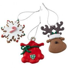 Perfect for the kids to decorate the Christmas tree in a fun style. Amazig Value 3 pack of reindeer, snowflake and sack. Christmas Clay, Cheap Christmas, Christmas 2014, Christmas Goodies, Christmas Themes, Christmas Tree Decorations, Vintage Christmas, Christmas Ornaments, Holiday Decor