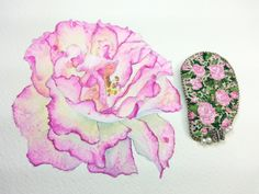 Handmade the pink roses brooch/ embroidered,pink,green,pearl,butterfly,flower by Sujstory on Etsy