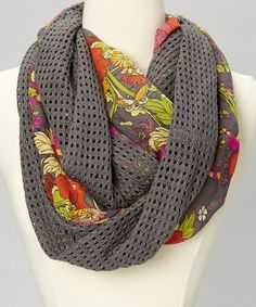 Take a look at this Gray Open-Knit Floral Infinity Scarf by The Sak on #zulily today! $17 !!