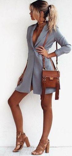 #summer #girly #outfitideas   Grey Blazer Dress