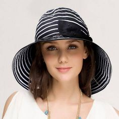 f324084373f Navy and white striped bucket hat with bow for women wide brim sun hats
