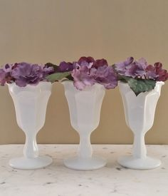 Vintage Milk Glass Goblets, Vases, Weddingware, Set of Three  $15
