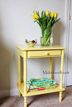 Thinking about refinishing an old end table into to something similar to this.