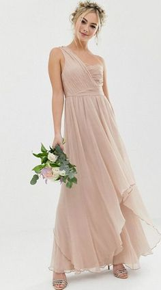 a46d4a0f84 ASOS DESIGN Bridesmaid soft layer maxi dress with one shoulder pleated  bodice  affiliate  blushbridesmaids