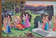 Radha Krishna in Jhula painting by Rajendra Khanna | ArtZolo.com