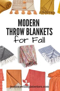 No Fall decor is complete without a few soft and cozy throw blankets in the living room and bedrooms. This roundup is full of warm and colorful patterned modern boho farmhouse and rustic throw blankets on a budget! Painting Moving Decor and Organization Modern Fall Decor, Fall Home Decor, Modern Boho, Modern Rustic, Modern Throw Pillows, Throw Blankets, Boho Throw Blanket, Rustic Bedroom Design, Orange Home Decor