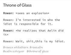 Yeah it's your idiot. The idiot who loves you more than anything Throne Of Glass Fanart, Throne Of Glass Quotes, Throne Of Glass Books, Throne Of Glass Series, Celaena Sardothien, Aelin Ashryver Galathynius, Book Memes, Book Quotes, Rowan And Aelin