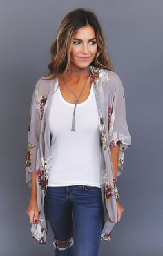 Grey Floral Kimono - Dottie Couture Boutique