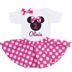 Minnie Mouse Birthday Outfit Girls Birthday by OliveLovesApple.. This site has so many cute birthday outfit for your little girl, you have to go check it out!