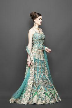 Engagement wear Greenish-blue and gold work lehenga
