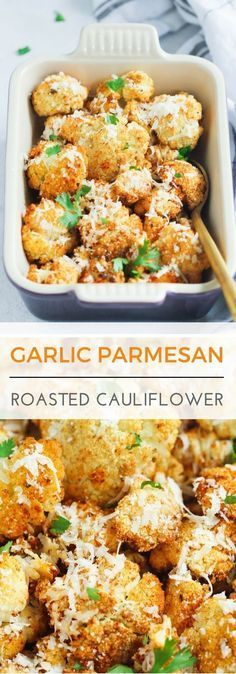 Garlic Parmesan Roasted Cauliflower - This easy Garlic Parmesan Roasted Cauliflower is a perfect low-carb side dish for any occasion. It's well seasoned with garlic, black pepper, paprika and Parmesan(Low Carb Vegetarian Recipes) Low Carb Side Dishes, Veggie Side Dishes, Healthy Side Dishes, Vegetable Dishes, Vegetable Recipes, Food Dishes, Vegetarian Recipes, Chicken Recipes, Baked Veggie Recipes