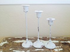 Brass White Candlesticks VINTAGE SHABBY CHIC by SouthamptonVintage