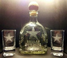 Etched DALLAS COWBOYS Patron Tequila Bottle and Shot Glass Set