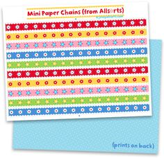 free printable paper chains from @Jenny B