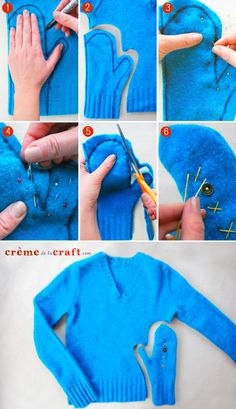 How to Make Sweater Mittens Out of an Old Sweater can use this for lining wool mittens The Mitten, Old Sweater Diy, Sweater Mittens, Knitting Sweaters, Women's Sweaters, Loose Sweater, Fingerless Mittens, Arm Knitting, Baby Mittens