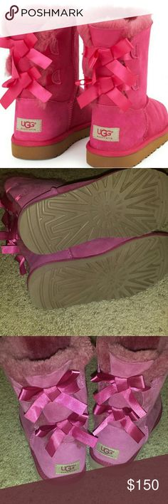 Worn once Pink Bailey Bow uggs Like new  Size 8  Smoke free home  Make an offer UGG Shoes Winter & Rain Boots