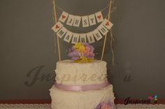 Just Married Wedding Cake Topper Mini Bunting Banner Topping Shabby Chic Vintage