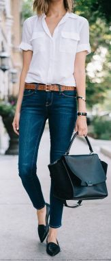 I like the white shirt, it's classic and lightweight. I also like the cut of the jeans.