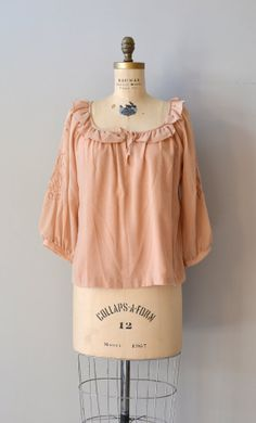 Barleycorn Tunic 70s peasant blouse 1970s cotton by DearGolden