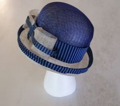 Ivory & Cobalt Blue Sinamay Bowler Hat trimmed in silk by AmyJoOH
