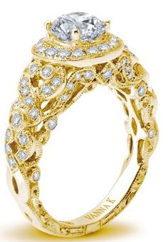 Vanna K yellow gold diamond engagement ring.   JH Faske Jewelers (979) 836-9282