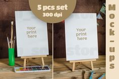 Set of Mock-ups for watercolors by pp_scout on Creative Market