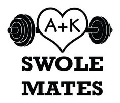 Custom SWOLE MATES dumbbell crossfit decal sticker! FREE SHIPPING workout exercise love heart CHOOSE YOUR INITIALS to put in heart!