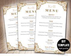 Gold Wedding Menu Template,DIY Menu Template,Printable Wedding Menu Card,Gold Wedding Instant Download,Vintage Wedding Menu by paperfull on Etsy