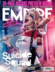 Showing some skin: Margot Robbie flaunted her enviable figure in a fitted, sheer baseball shirt and booty shorts while portraying Suicide Squad's Harley Quinn for Empire Magazine