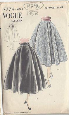 "1952 Vintage VOGUE Sewing Pattern SKIRT W32"" (R296) Yup. Love it!"