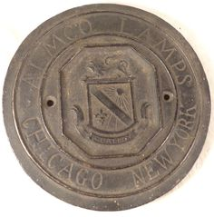 """Antique Cast Iron """"Almco Lamps"""" Advertising Medallion Plaque Chicago NY 6pnds #almco"""