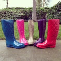 Quilted Rubber Rain Boots