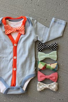 OMG. I May be okay having a boy if I can dress him like this! Cardigan and Bow Tie Onesie Set - Trendy Baby Boy - Orange and Blue