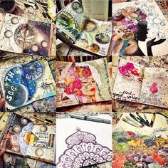 Jumping on the bandwagon… With a rainbow of artwork. What a year it's been, and I am beyond excited to see what 2016 will bring! Art Journal Pages, Art Journals, Visual Journals, Mixed Media Journal, Mixed Media Collage, Art Journal Inspiration, Art Inspo, Watercolor Pallet, Face Collage
