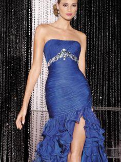 2015 Mermaid Ruffle Skirt Royal Blue Chiffon Long Formal Dress/ Prom Dress Formal Dress Ace Paris 5592