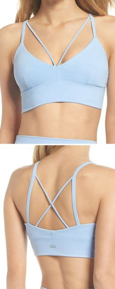 I love this cute sports bra! | Strappy details and supersoft fabric make this low-cut sports bra perfect for stylish layering at the studio and beyond. | yoga bra | workout bra | workout bra | fitness fashion | sports bra | activewear | yoga clothes | #ad #yogabra #yogaclothes