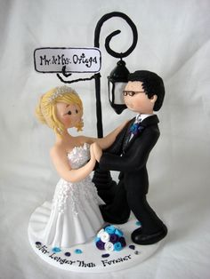 Custom made Bride and Groom under street light by ALittleRelic