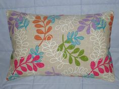 Decorative Pillow Cover. Cream. Fushia. Lavender. Aqua. Orange. Green. Beige. Leaves. 12 x 18. Accent Pillow Cover
